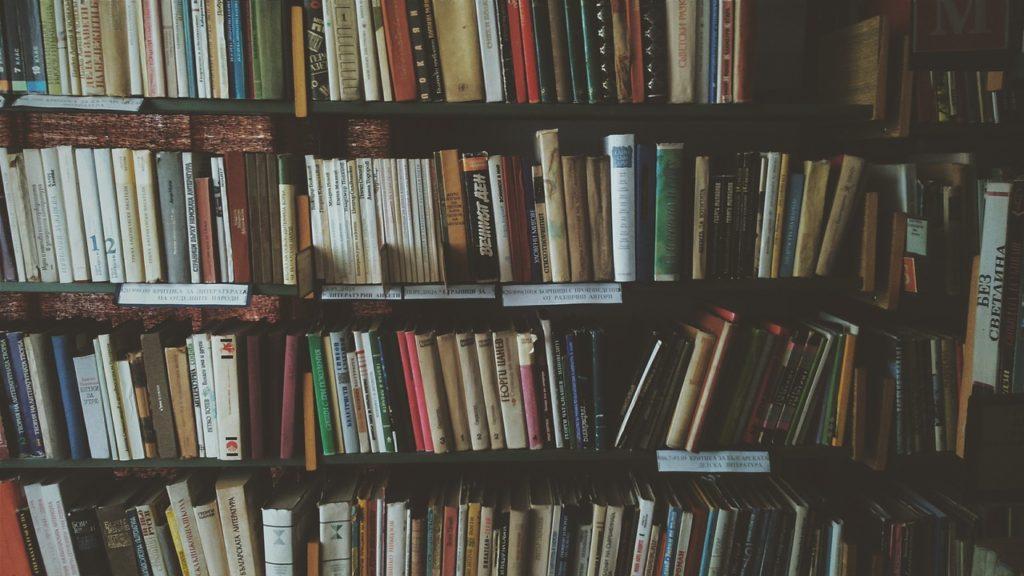 Libros en la estantería de una casa