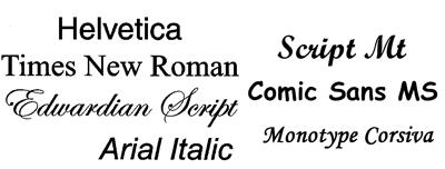 Ejemplos de tipografías distintas