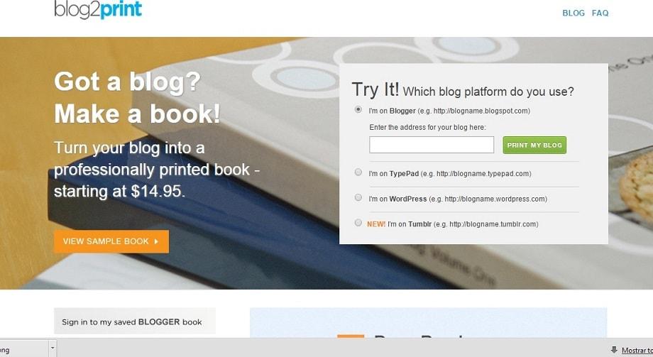 Web Blog2print para pasar blog a libro