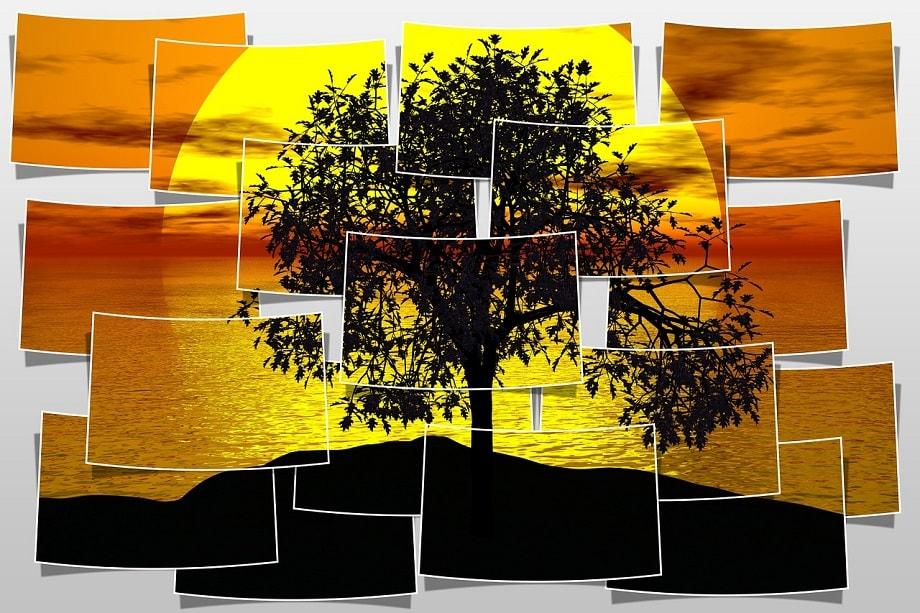Collage de un atardecer sacado de uno de los mejores bancos de imágenes