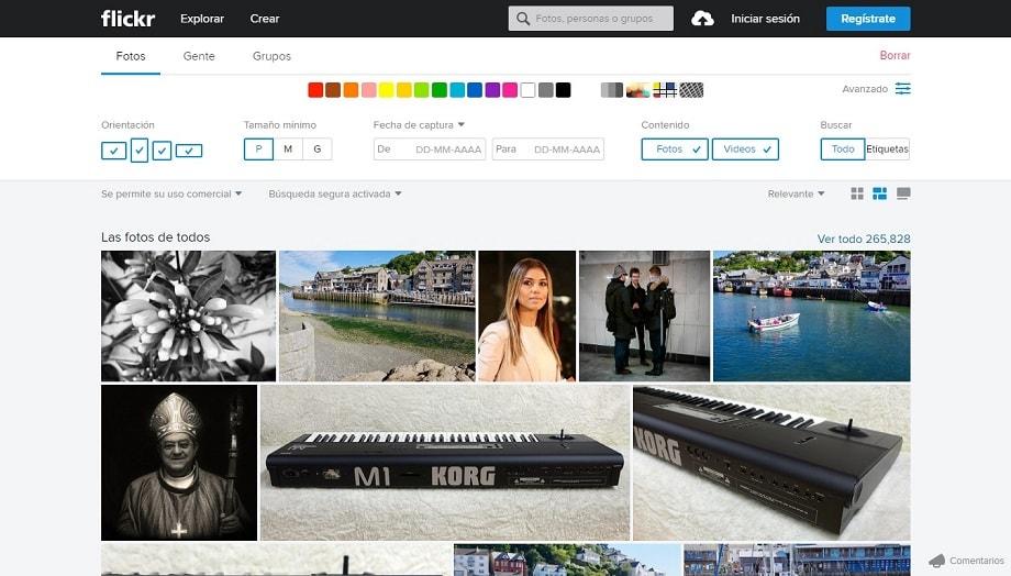 Web de Flickr, uno de los mejores bancos de imágenes.