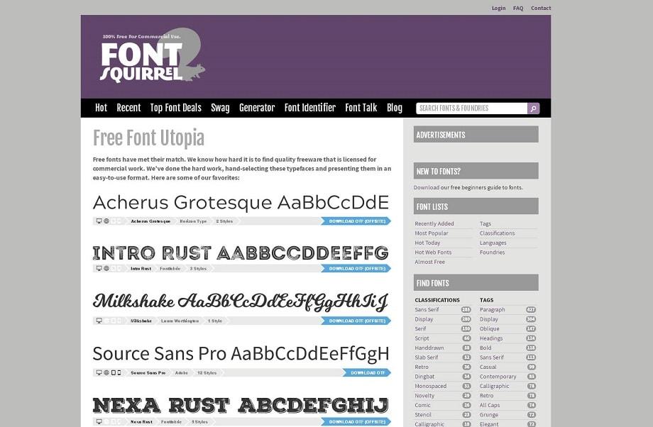 FontSquirrel una de las web donde descargar fuentes gratis para tu libro