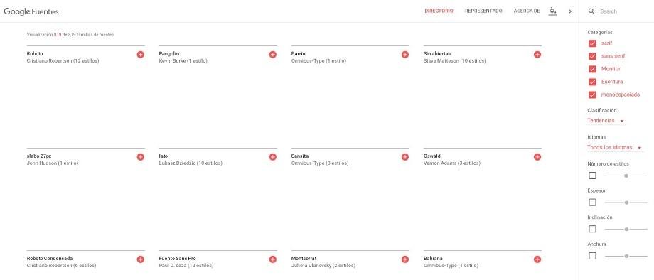 Home de Google Font uno de los sitios donde descargar fuentes gratis para tu libro