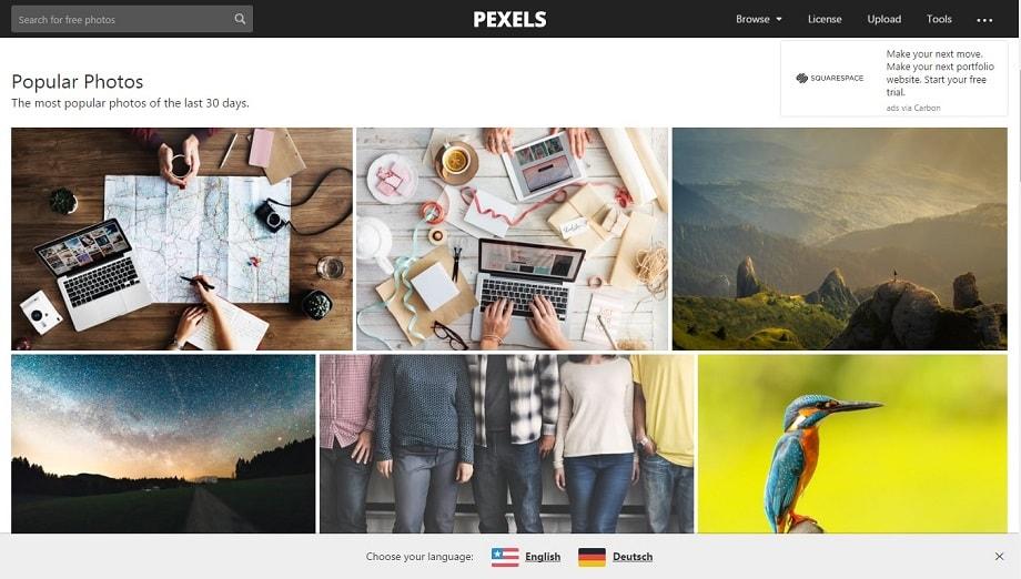 Web del Pexels, uno de los mejores bancos de imágenes