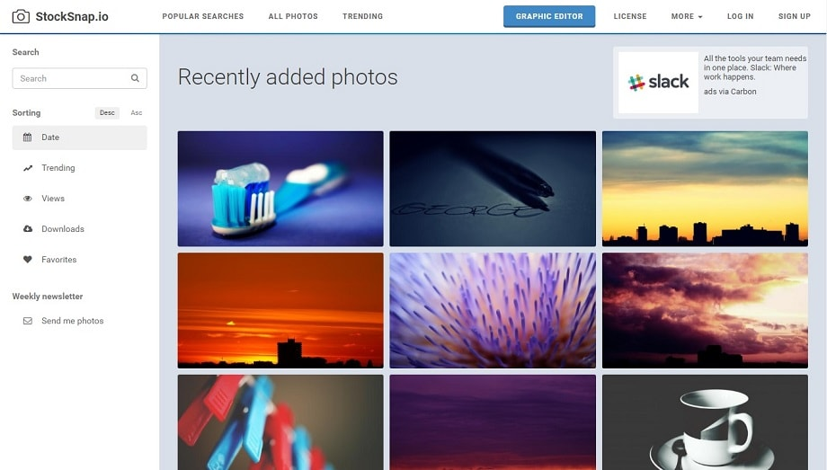 Página web de StockSnap.io, uno de los mejores bancos de imágenes.
