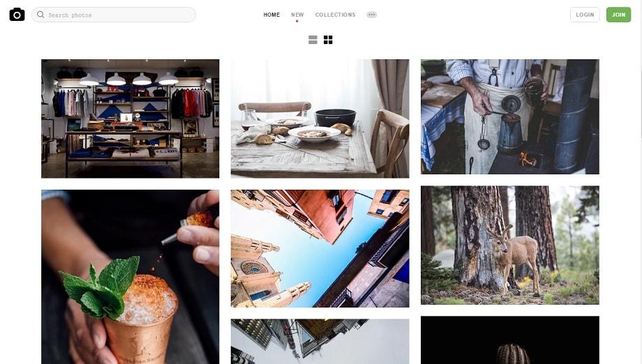 Web de Unsplash, uno de los mejores bancos de imágenes y más completos.